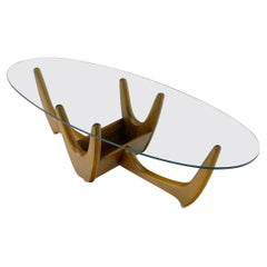 Oval Glass Top Sculptural Base Mid-Century Modern Coffee Table