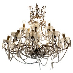 Nineteenth Century Sicilian Chandelier with Glass and Gilded Iron, Sicily 18th