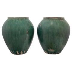 Pair of Chinese Green Glazed Storage Jars, c. 1900