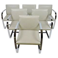 Set of Six Mies van der Rohe for Knoll Brno Flat Bar Chrome and Leather Chairs