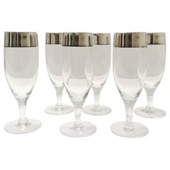 1950's Champagne Flutes with Sterling Silver Overlay by Dorothy Thorpe, Set of 6