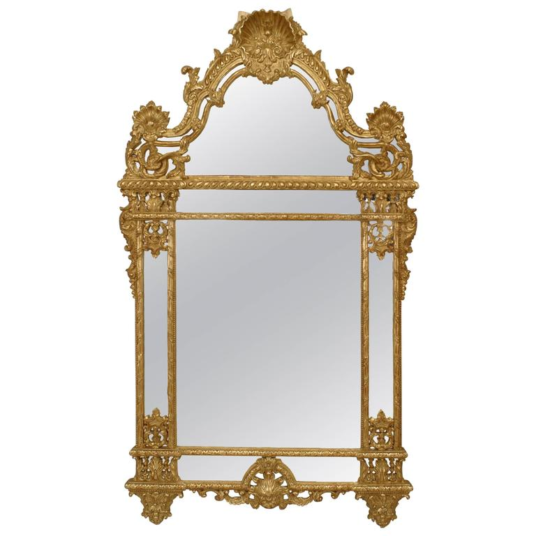 20th Century French Regence Style Gilt Carved Wall Mirror