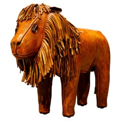 Leather Lion Footstool by Dimitri Omersa for Abercrombie & Fitch, 1970s