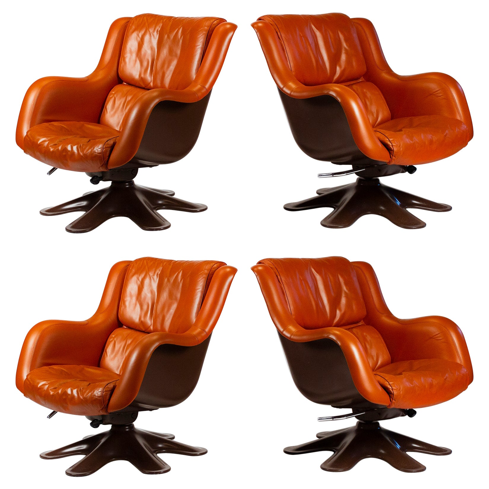 Yrjo Kukkapuro Karuselli Easy Chairs and Ottoman in Leather Model 418 for Haimi