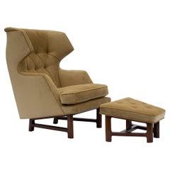 Edward Wormley for Dunbar Janus Wing-Back Lounge Chair & Ottoman Model 5761