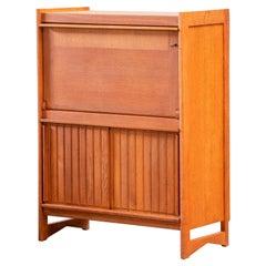 Solid Oak Cabinet and Desk by Guillerme et Chambron, Edition Votre Maison
