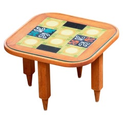 Coffee Table, in Oak and Ceramic by Guillerme et Chambron, France, 1960