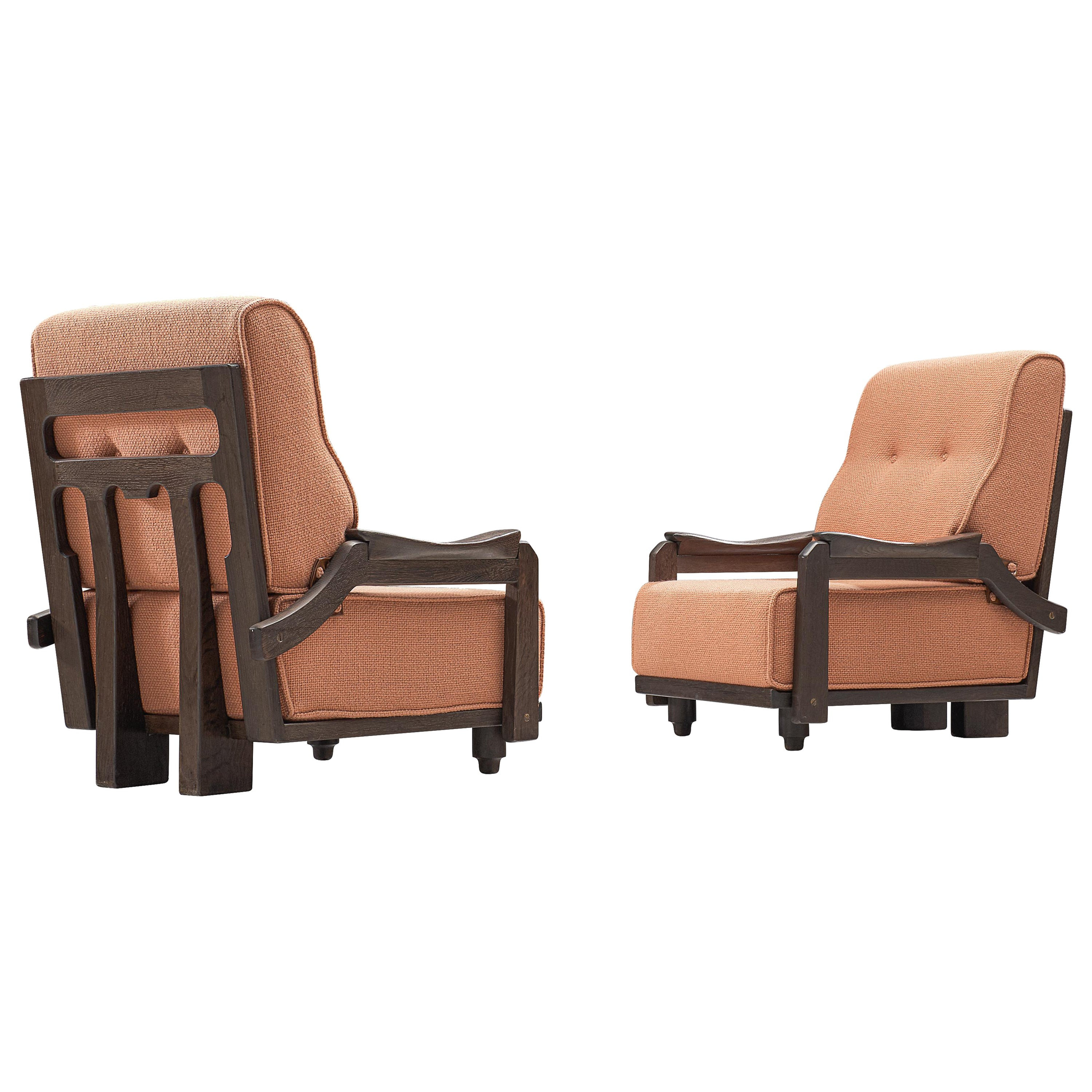 Guillerme & Chambron Pair of Lounge Chairs in Orange Upholstery