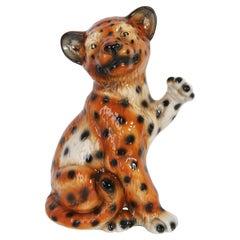 Mid 20th Century Medium Ceramic Leopard Decorative Sculpture, Italy, 1960s