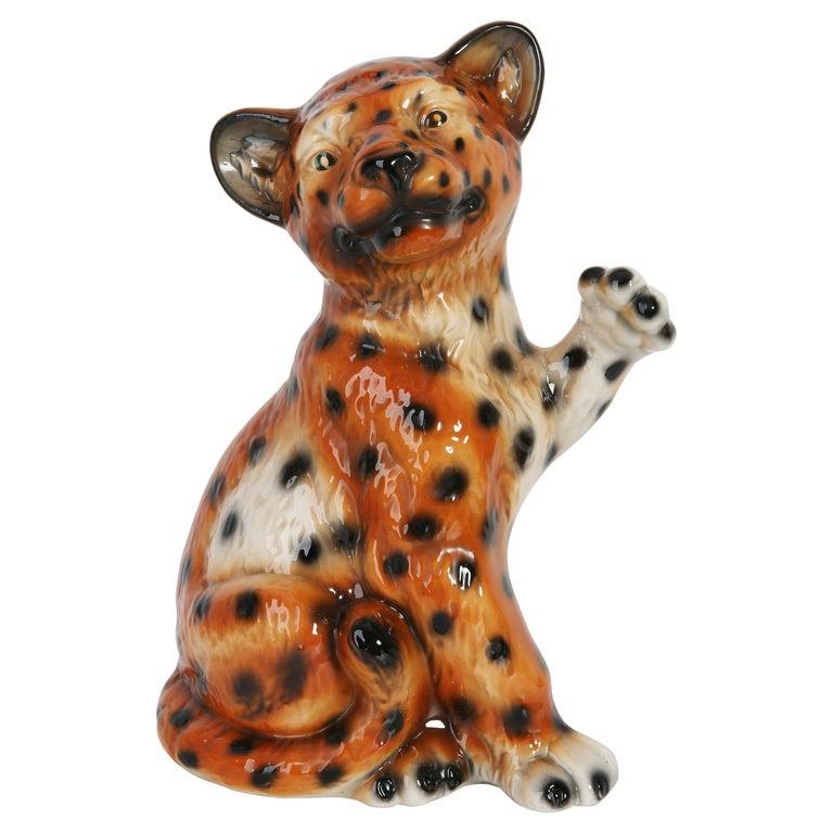 Mid 20th Century Medium Ceramic Leopard Decorative Sculpture, Italy, 1960s For Sale