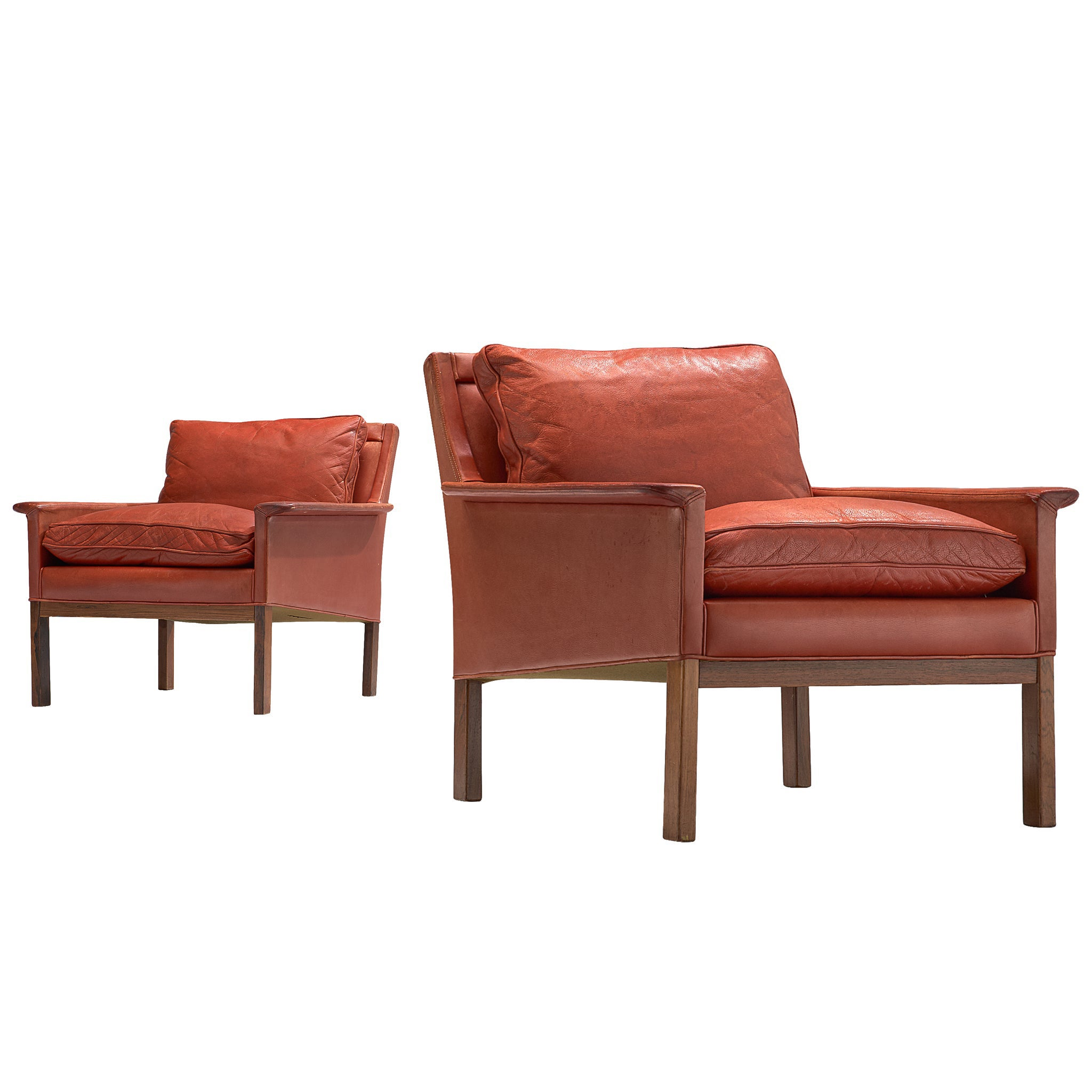 Pair of Danish Lounge Chairs in Red Leather