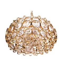 1960 Germany Palwa Bubble Chandelier Crystal & Gilt Brass by Gaetano Sciolari