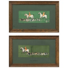 Antique Pair of Hunting Prints by Cecil Aldin in Original Frames