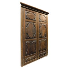 Antique Walnut Wall Cabinet, Carved Cupboard, 17th Century Italy