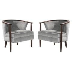 Set of Scandinavian Modern Barrel Lounge Chairs, 1950s