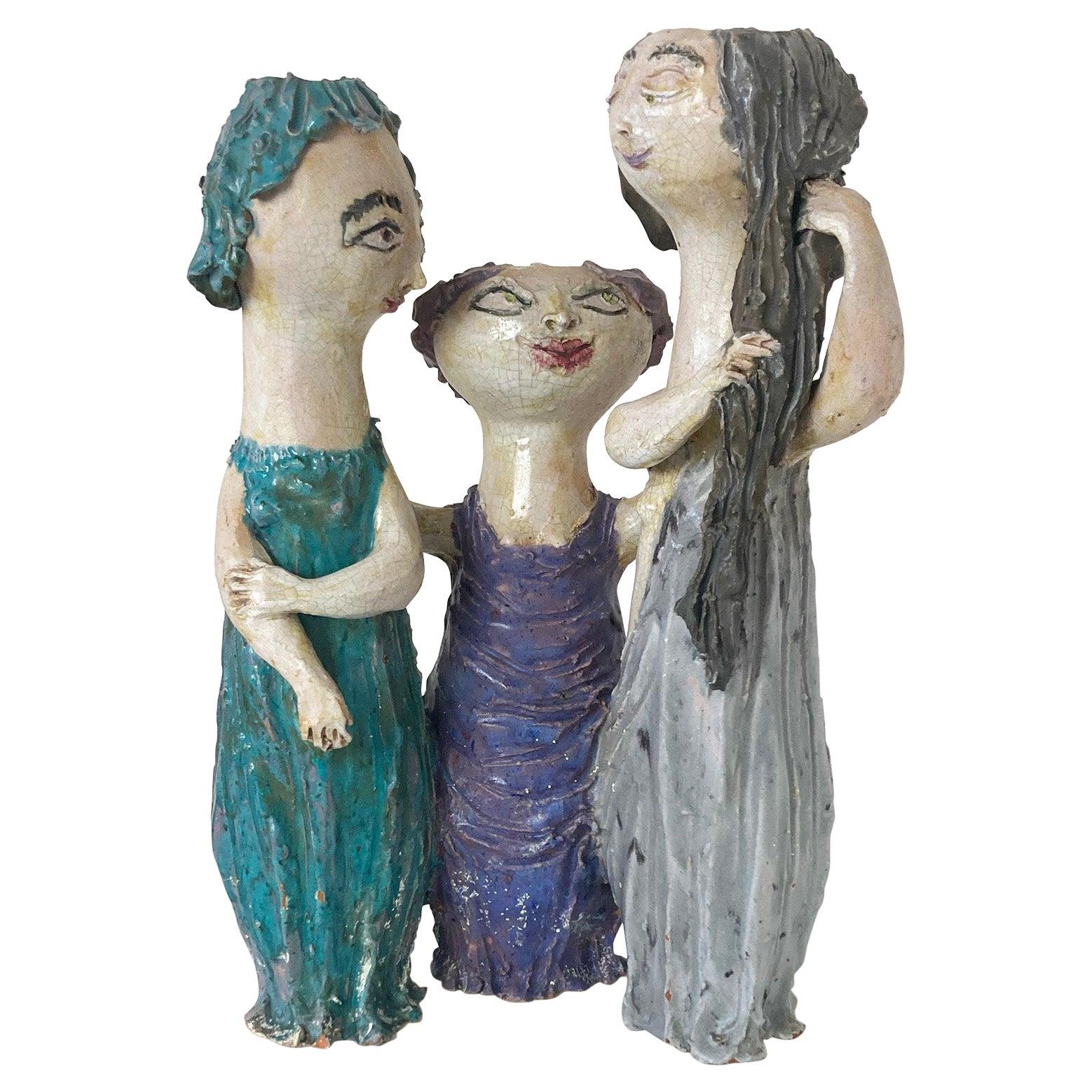 """Mid-Century Modern Italian Ceramic """"Tre Donne"""" by Renato Bassoli, Mlano 1960s"""