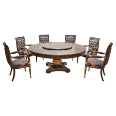 Gray and Gold Dining Set, Table with Lazy Susan and Six Carved Armchair