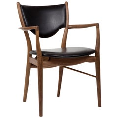 Finn Juhl 46 Chair Armrests, Wood and Elegance Black Leather