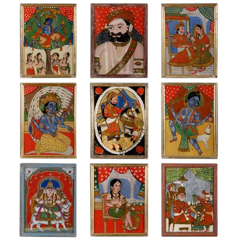 Indian Reverse Glass Paintings At 1stdibs