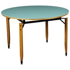 Table Roberto Aloi Beech Metal Back-Treated Glass Italy 1960s