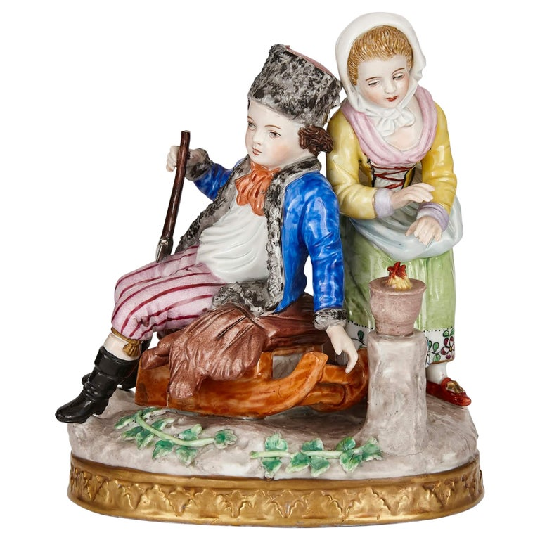 Sitzendorf Porcelain Group of a Young Couple For Sale