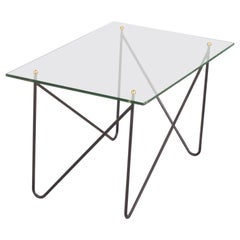 Midcentury Metal and Glass Table by Airborne, France, 1950s