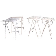 2 Sets of 2 Wrought Iron Patio Garden Nesting Tables Attributed to Salterini