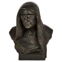 Realist Terracotta Sculpture of an Elderly Lady by Sinding