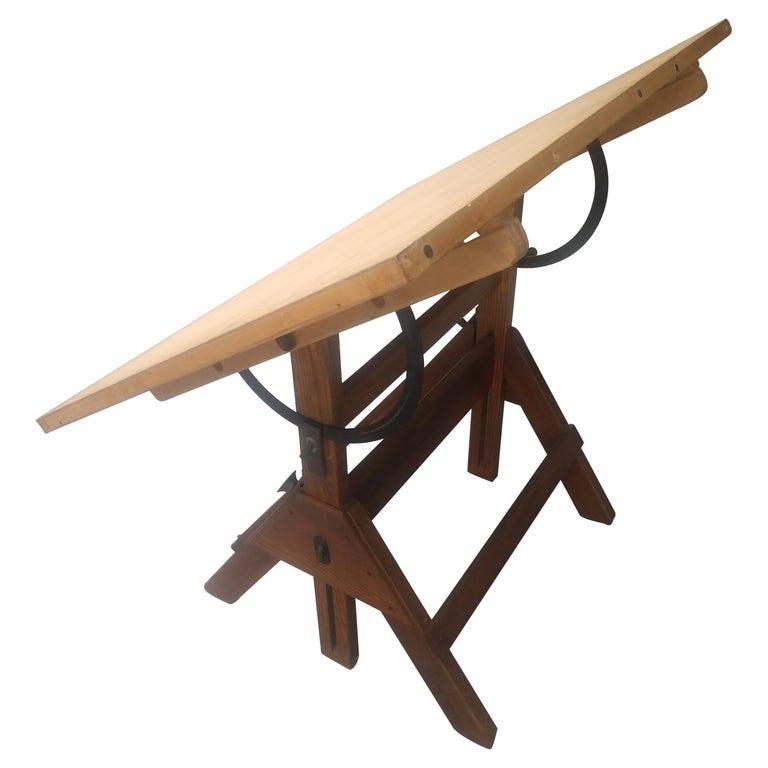 Wood & Iron Adjustable Drafting Table, circa 1950