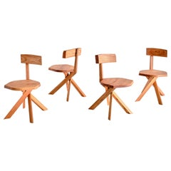 Set of Four Pierre Chapo S34 Dining Chairs in Solid Elm, Chapo Creation, France