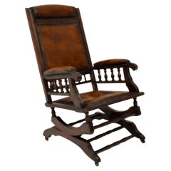 Antique Victorian Leather Rocking Chair
