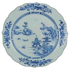 Large Antique 18C Serving Platter Qing Chinese Porcelain China Landscape Scene