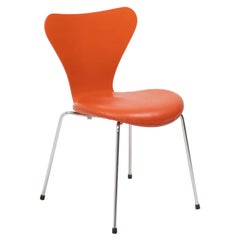 Arne Jacobsen for Fritz Hansen Orange Leather Series 7 Dining Chair