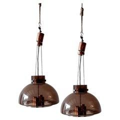 Pair of Vintage Herbert Proft, Limburg Glashütte, Brown Glass Pendant Lights