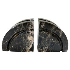 Vintage Post Modern Black Marble Hand Carved Bookends Italy 70's