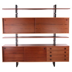 Beautiful Freestanding Danish Wall Unit with Cupboards and Bookshelves