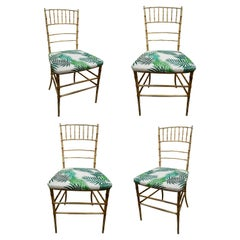 Set of Four 1970s Spanish Faux Bamboo Iron Chairs w/ Upholstered Seast