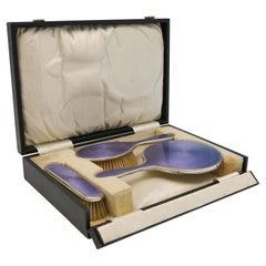 Art Deco Enamel & Sterling Silver Dressing Table Set, 1925 Levi & Salaman