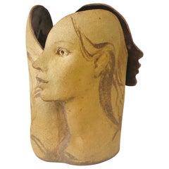 Studio Ceramic 3 Graces Vessel Vase Sculpture Container