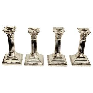 Set of 4 Silver Plated Corinthian Column Candlesticks, circa 1895