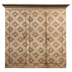 Antique Walnut Wall Cabinet Painted Classic Black and White Motifs, '700 Italy