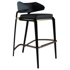 21st Century York Bar Chair Genuine Leather Lacquered Wood