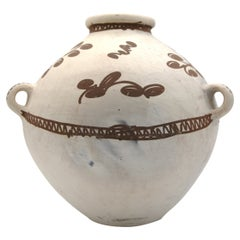 Mayan Pre-Columbian Style White Round Jar with Naturalistic Drawings