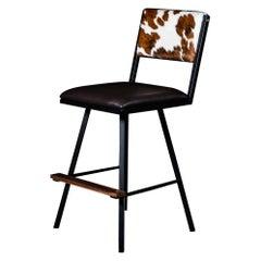 Shaker Swivel Bar Chair, by Ambrozia, Walnut, Steel, B&W Cowhide & Brown leather