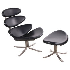 Corona Chair with Hocker Design from Poul Volther for Erik Jorgensen