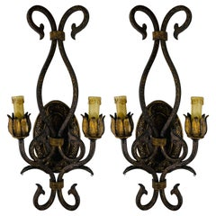 French Neoclassical Style Gilded Metal Wall Sconce, a Pair