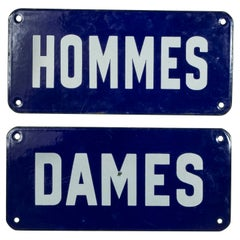 Pair of Mid-20th Century French Enameled Blue and White Hommes and Dames Signs