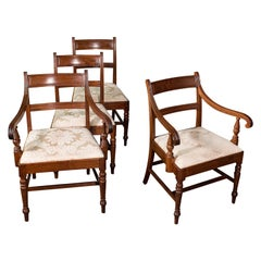 Set of 4, Antique Dining Chairs, English, Mahogany, Pair of Carvers, Regency