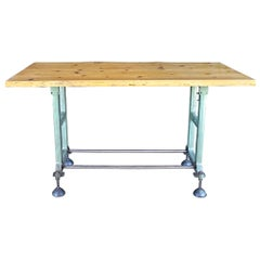 Bar Height Industrial Table with Live Edge Top