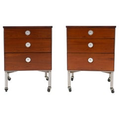 Pair Nightstands by Raymond Loewy for Hill Rom, Walnut, off White Laminate Tops